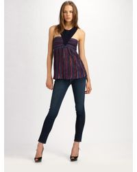 M Missoni | Purple Pointelle Striped Halter Top | Lyst