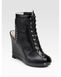 Marc By Marc Jacobs | Green Peep-toe Lace-up Ankle Boots | Lyst