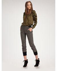 McQ | Green Silk Puff-sleeve Blouse | Lyst