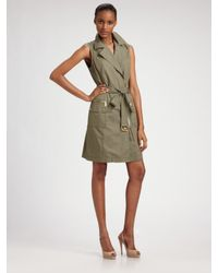 MICHAEL Michael Kors | Green Belted Trench Dress | Lyst