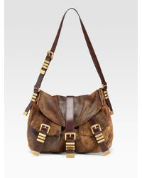 Michael Kors | Brown Darrington Distressed Leather Hobo | Lyst