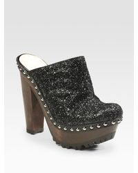Miu Miu | Black Glitter-covered Leather Clogs | Lyst