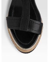 Miu Miu | Black T-strap Cork Wedge Sandals | Lyst