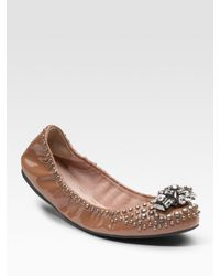 Miu Miu | Metallic Patent Leather Ballet Flats | Lyst