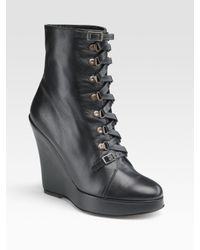Opening Ceremony | Black Lace-up Wedge Ankle Boots | Lyst
