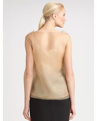 Oscar de la Renta | Natural Sleeveless Silk Organza Blouse | Lyst