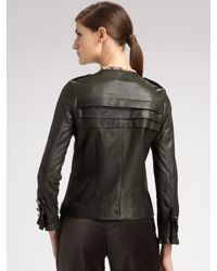Peter Som - Green Short Leather Jacket - Lyst