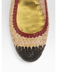 Prada - Natural Tricolor Woven Leather Ballet Flats - Lyst