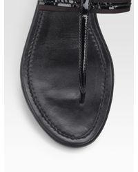 Prada | Black Patent Leather Flat Thong Sandals | Lyst