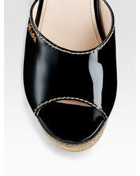 Prada - Black Patent Leather Wedge Slides - Lyst