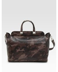 Prada | Brown Large Saffiano Camouflage Tote | Lyst