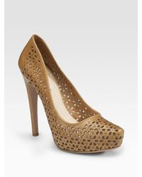 Prada | Brown Laser-cut Leather Pumps | Lyst