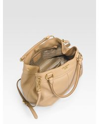Prada - Brown Vitello Daino Top Handle Bag - Lyst