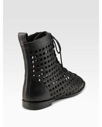 Proenza Schouler - Black Laser-cut Lace-up Ankle Boots - Lyst