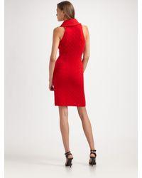 Ralph Lauren Black Label - Red Cable Cashmere Wrap Front Dress - Lyst