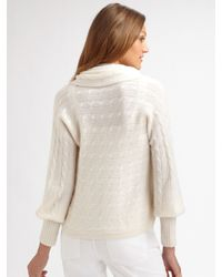 Ralph Lauren Black Label - White Cashmere Cropped Circular Cardigan - Lyst