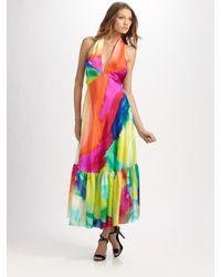 Ralph Lauren Blue Label | Black Tie-dyed Silk Halter Dress | Lyst