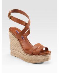 Ralph Lauren Collection | Brown Firana Wedge Sandals | Lyst