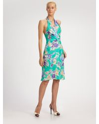 Ralph Lauren Collection | Blue Cecillia V-neck Halter Wrap Dress | Lyst