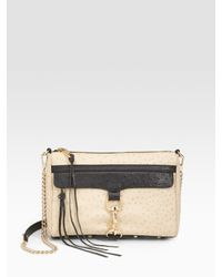 Rebecca Minkoff | Natural Ostrich-embossed Leather Clutch | Lyst