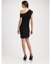 Richard Chai Love | Black Draped Shoulder Dress | Lyst