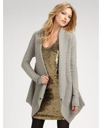 Robert Rodriguez | Gray Wool/cashmere Ribbed Cardigan | Lyst