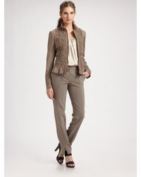 St. John | Natural Silken Suede Ruched Jacket | Lyst