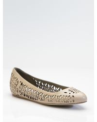 Stella McCartney | Natural Faux Leather Cutout Ballet Flats | Lyst
