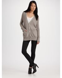 T By Alexander Wang | Gray V-neck Cardigan | Lyst