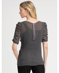 Theory - Gray Ruched Silk Blouse - Lyst