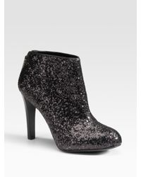 Tory Burch | Black Corbet Glitter-covered Leather Ankle Boots | Lyst