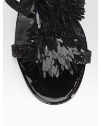 Tory Burch | Black Evelyn Glitter-covered T-strap Sandals | Lyst