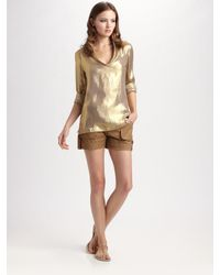 Tory Burch | Metallic Tunic Top | Lyst