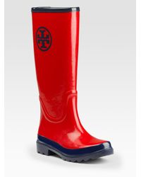 Tory Burch | Red Logo Rainboots | Lyst