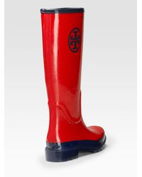 Tory Burch - Red Logo Rainboots - Lyst