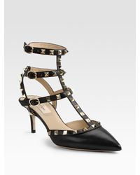 Valentino | Black Rockstud Studded Leather Pumps | Lyst