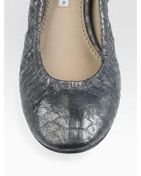 Vera Wang Lavender - Metallic Snake-embossed Leather Ballet Flats - Lyst