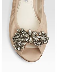 Vera Wang Lavender | Brown Jeweled Open-toe Ballet Flats | Lyst