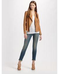 Vince   Brown Scuba Leather Jacket   Lyst