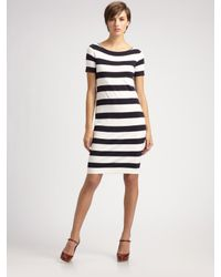 Weekend by Maxmara - Blue Stripe Knit Dress - Lyst
