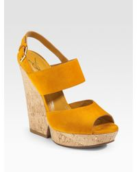 Saint Laurent - Yellow Cork Wedge - Lyst
