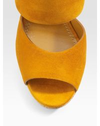 Saint Laurent | Yellow Cork Wedge | Lyst
