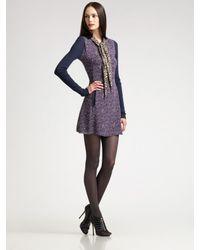 Z Spoke by Zac Posen | Purple Printed Georgette Dress | Lyst