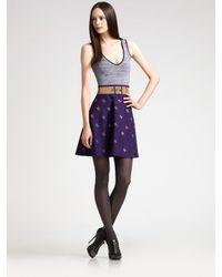 Z Spoke by Zac Posen | Purple Stretch Knit Flare Dress | Lyst