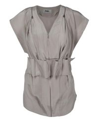 Acne | Gray Titania Crepe Belted Top | Lyst