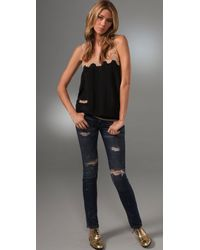 Beyond Vintage - Black Tank with Contrast Lace - Lyst