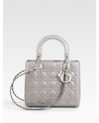 Dior | Gray Patent Quilted Cannage Lady Top Handle Bag | Lyst