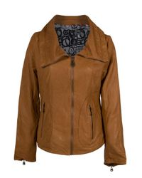 Doma Leather | Brown Double Collar Jacket | Lyst