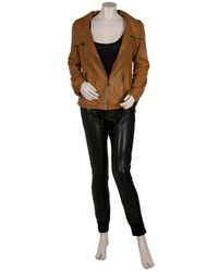 Doma Leather   Brown Double Collar Jacket   Lyst