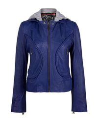 Doma Leather - Blue Leather Jacket with Detachable Hood - Lyst
